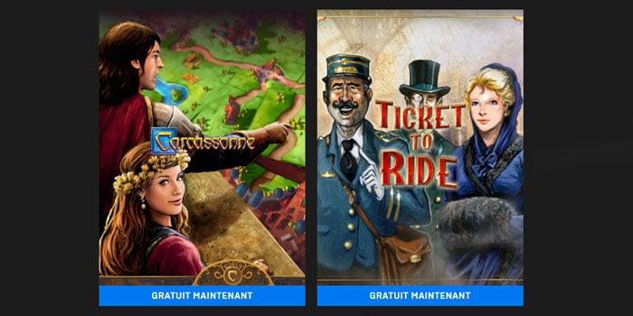 Carcassonne et les Aventuriers du Rail gratuit sur l'Epic Game Store
